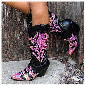 Mermaid & Black Western Cowboy Knee High Boots